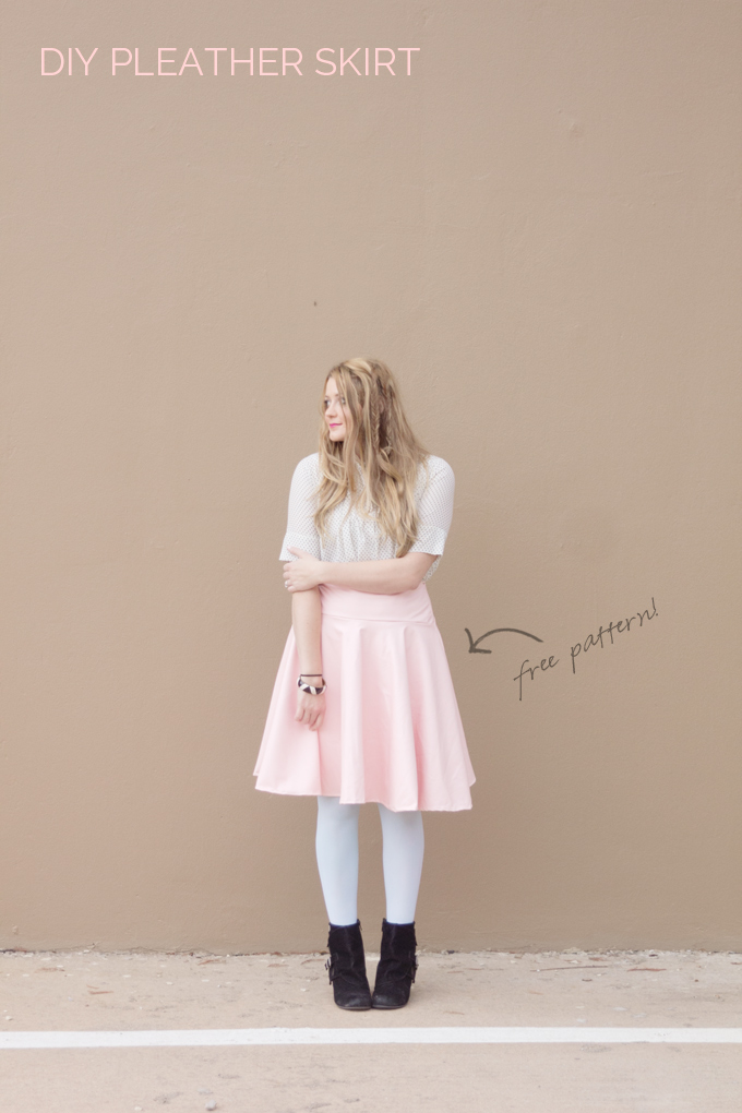 diy pleather circle skirt tutorial from See Kate Sew