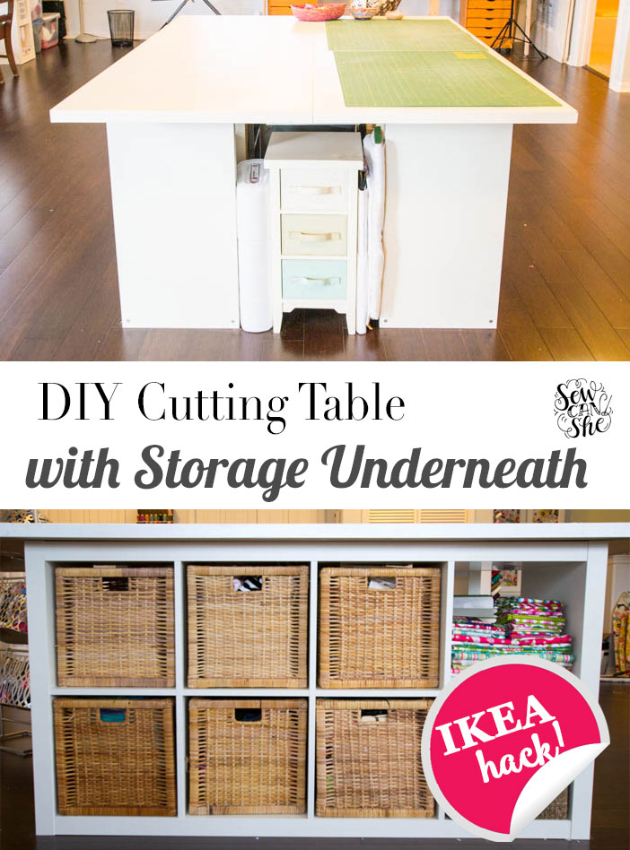 Diy cutting table with storage underneath sewcanshe free daily sewing tutorials - Sewing table for small spaces design ...