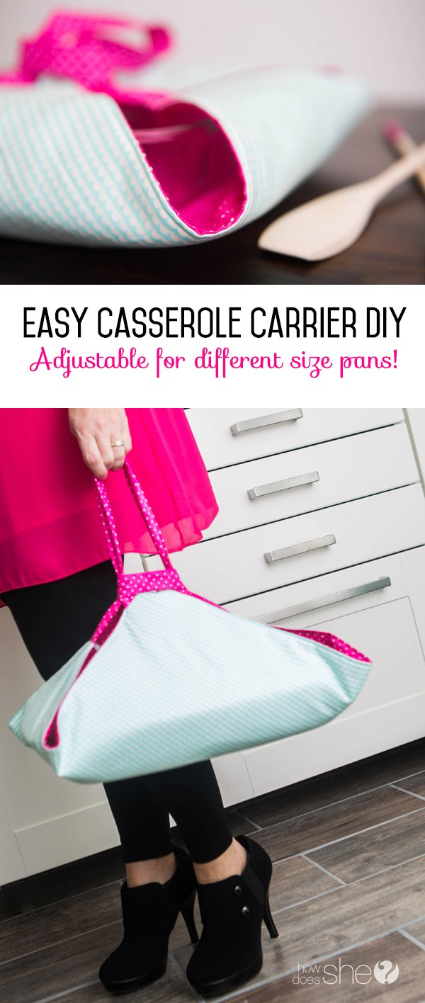 Casserole Carrier Easy DIY Adjustable  from How Does She