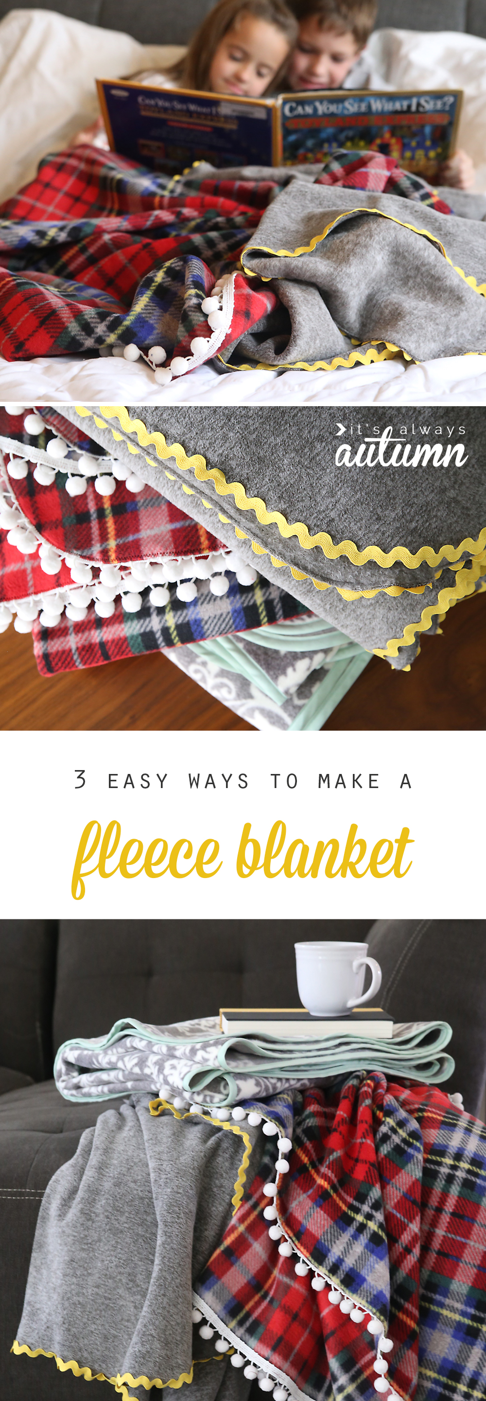 easy & beautiful DIY fleece blankets from It's Always Autumn