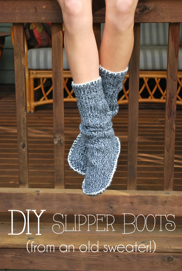 Upcycled Sweater Slipper Boots from Drawings Under the Table