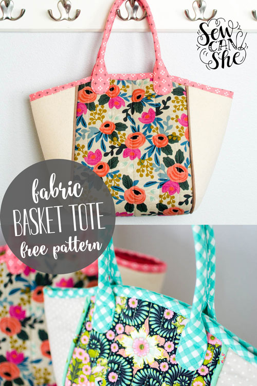 DIY Fabric Basket Tote {free sewing pattern} — SewCanShe | Free ...