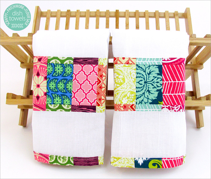 Scrappy Patchwork Flour Sack Dish Towels from Sew 4 Home