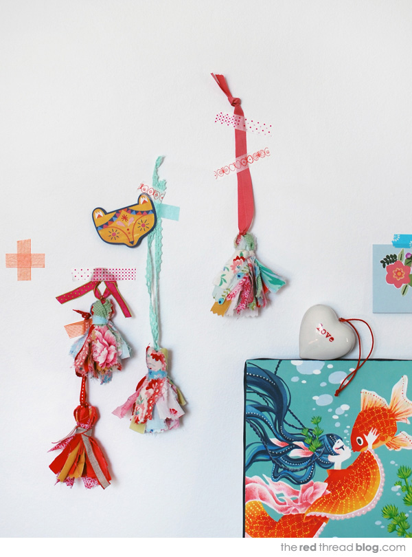sweet scrap fabric tassels from We Are Scout