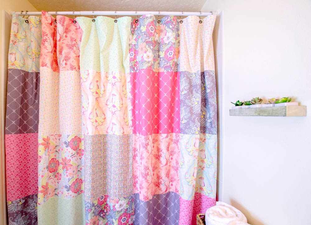 The Fat Quarter Bundle That Was Sitting On My Sewing Desk Transformed Into A Tall And Wide Patchwork Shower Curtain In Just Couple Hours