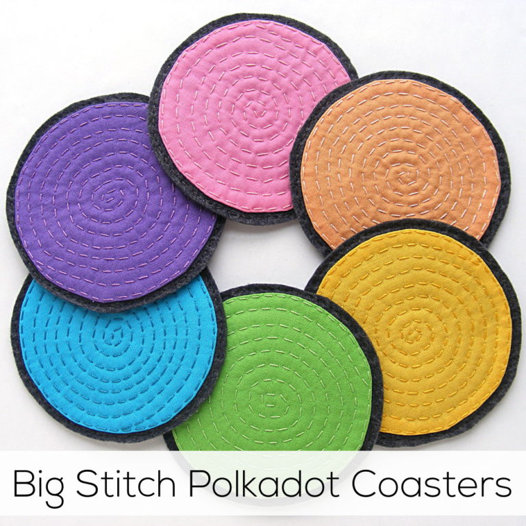 Big Stitch Polkadot Coasters from Shiney Happy World