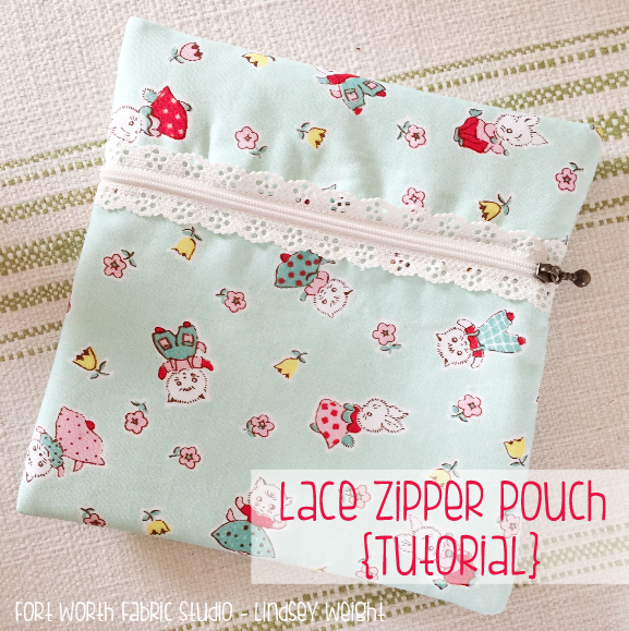 Exposed Lace Zipper Pouch from Fort Worth Fabric Studio