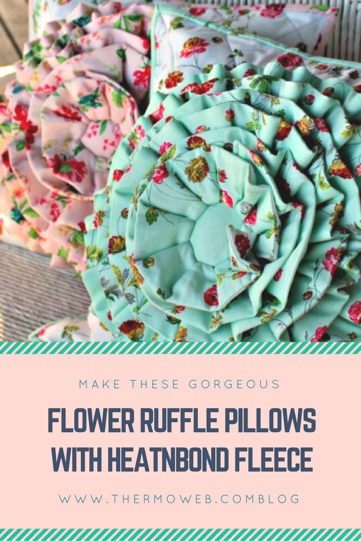 Romantic Ruffle Flower Pillow Cover from Thermo Web
