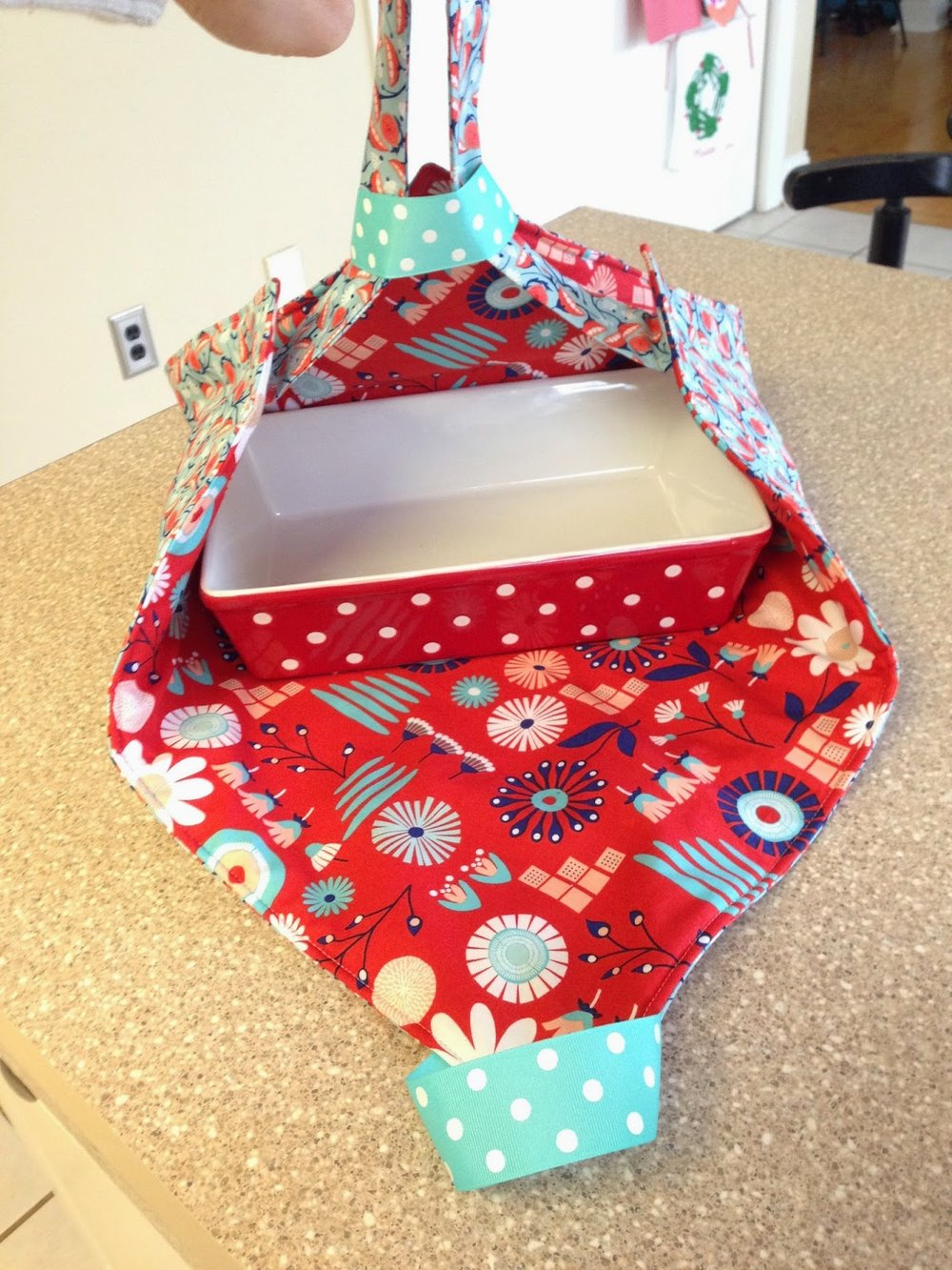 super simple casserole carrier from Little Bit Funky