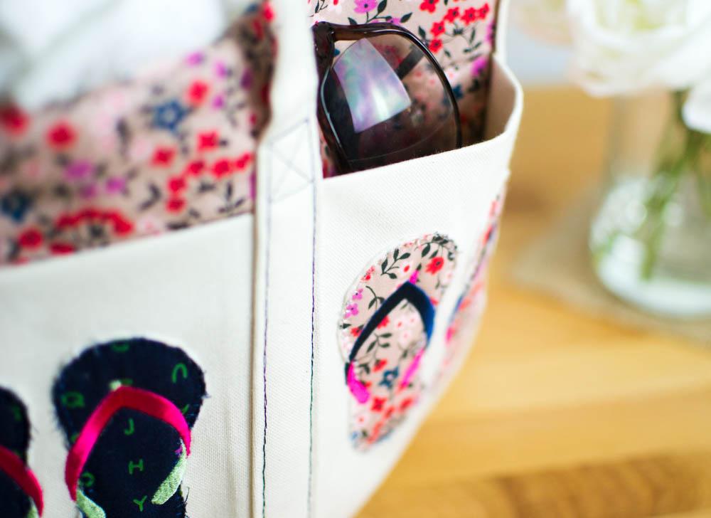 c8e326e3e3de Summer Flip Flop Tote - Free Pattern   Embroidery Design ...