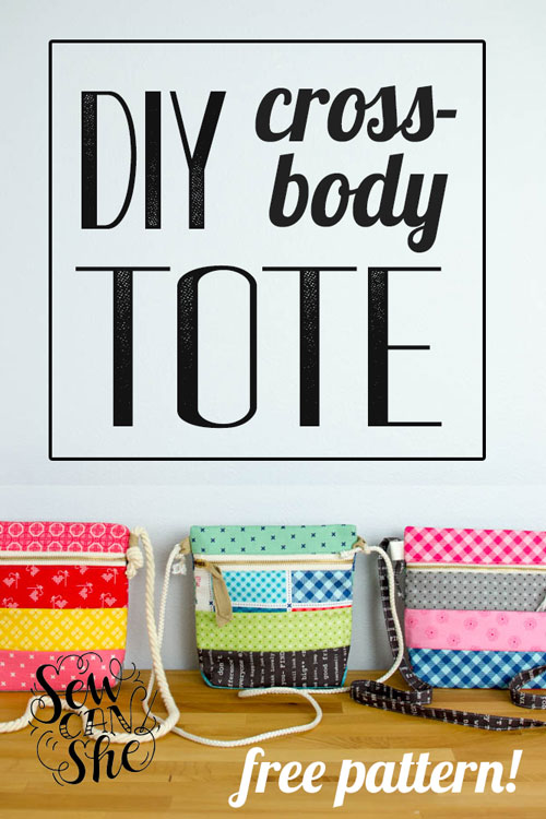 Sew up a Cross Body Zipper Tote! {free pattern!} — SewCanShe | Free ...