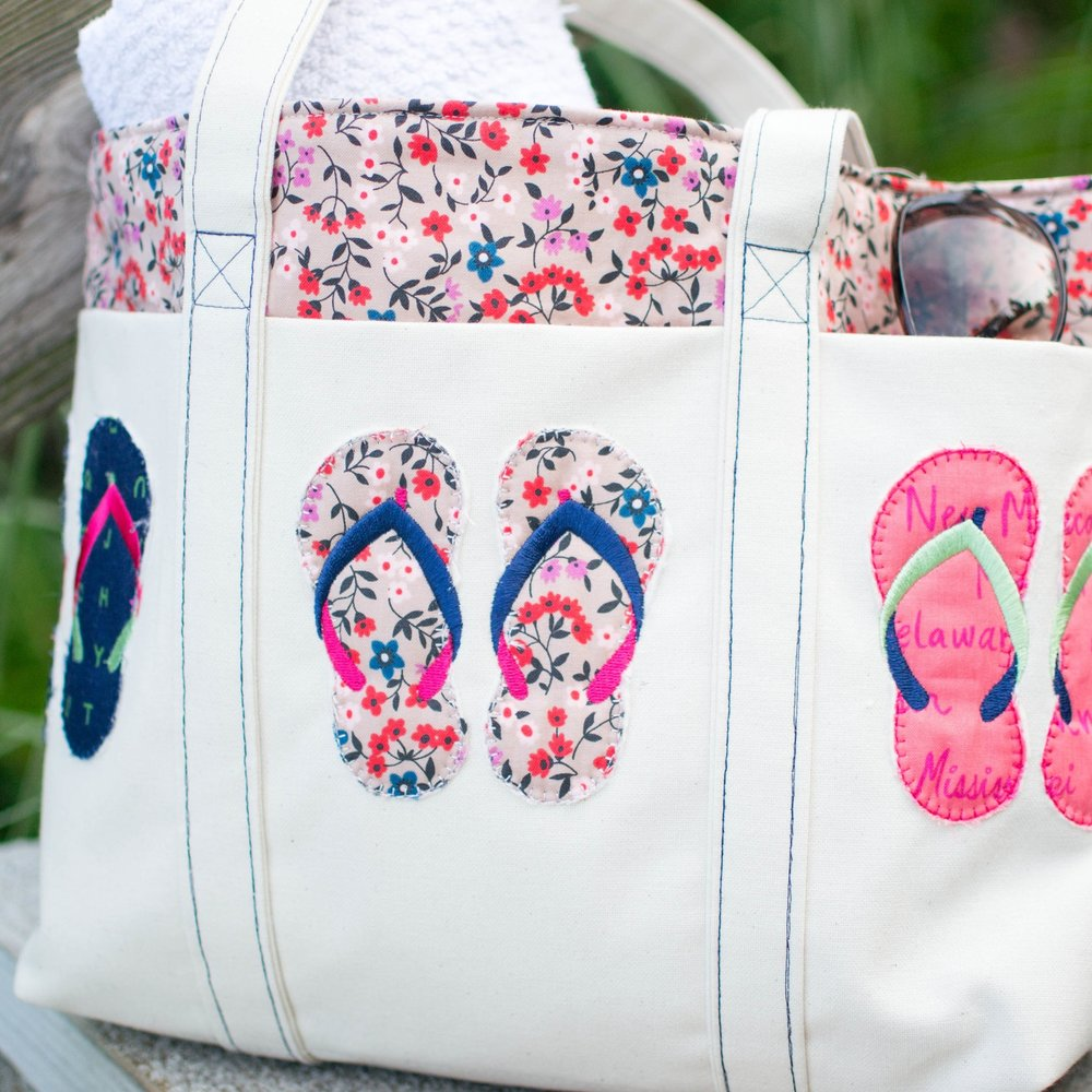 The ultimate list of fast and easy tote bags to sew with free sew up a tote thats perfect for the beach with adorable flip flop machine embroidered applique if you dont have an embroidery machine you can use other jeuxipadfo Gallery