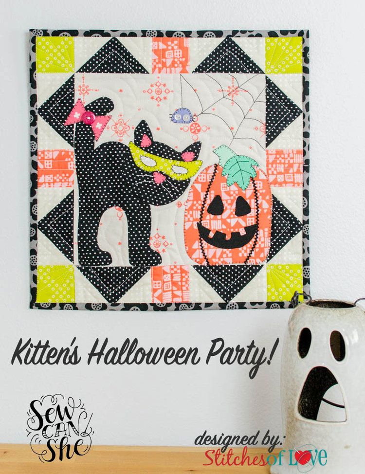 Monthly Mini Quilt Series... Kitten\'s Halloween Party! — SewCanShe ...