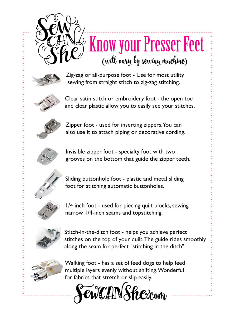 Sewing Machine Presser Feet A Handy Printable Guide SewCanShe Inspiration How To Use Sewing Machine Feet
