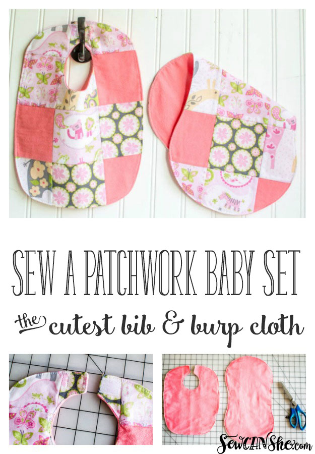 Patchwork Baby Set - free pattern {the cutest dribble bib and burp ...