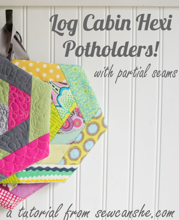 log cabin hexi potholders