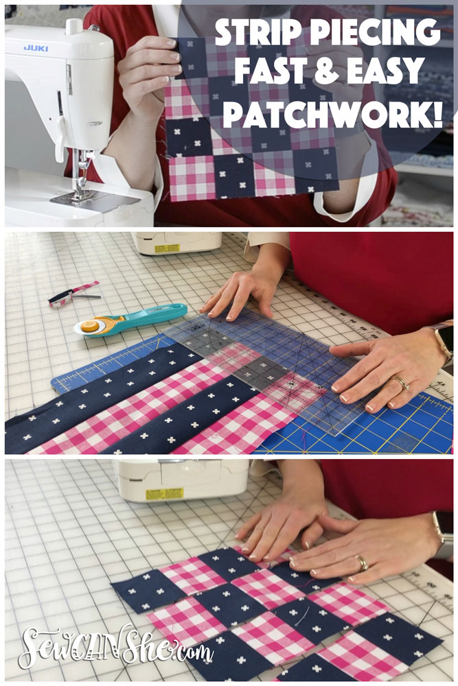 Sew Patchwork Blocks with Strip Piecing! {how to video} — SewCanShe ...