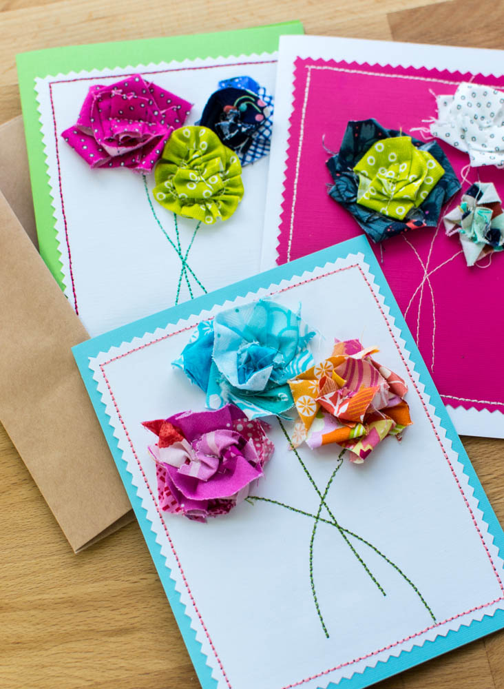 Sew a DIY Mother\'s Day Card! {3 simple flower techniques using ...