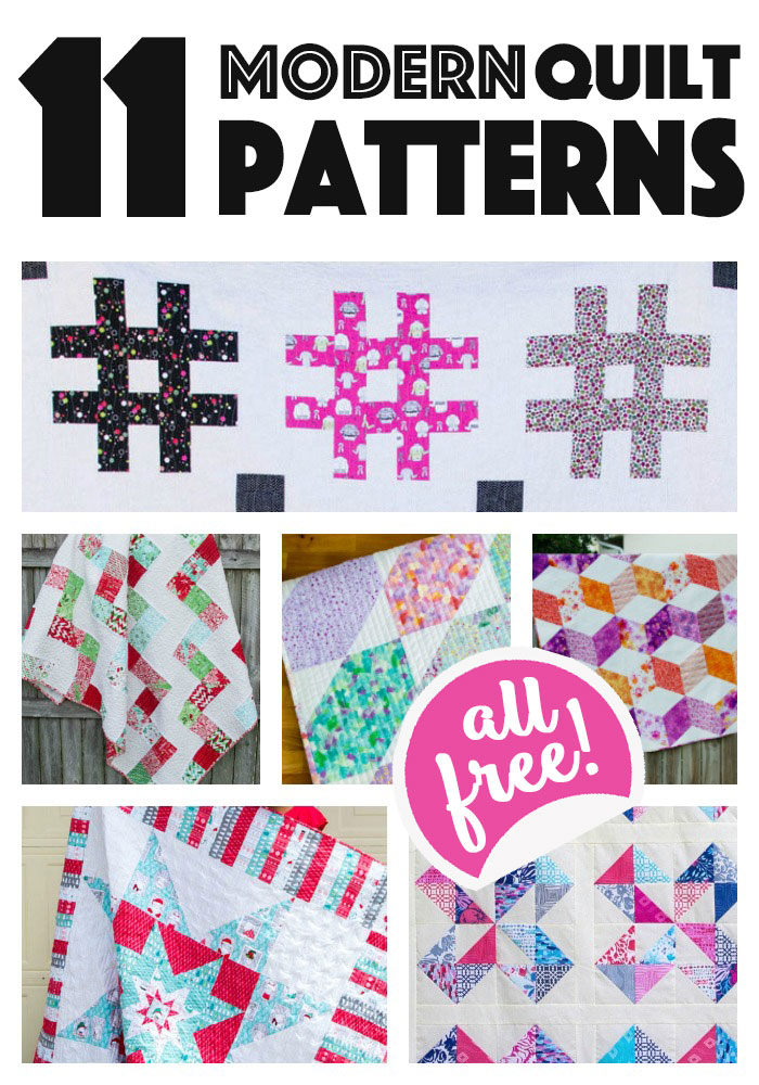 11 Modern Quilt Patterns for you to sew... all easy and free ...