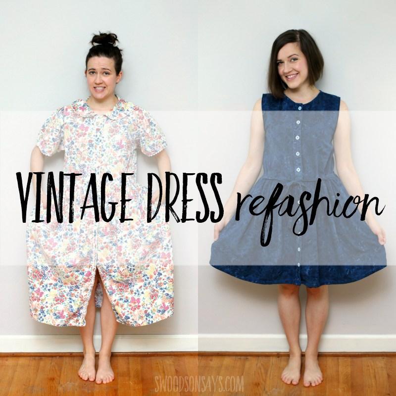 Friday Spotlight Stephanies Vintage Dress Refashion Sewcanshe