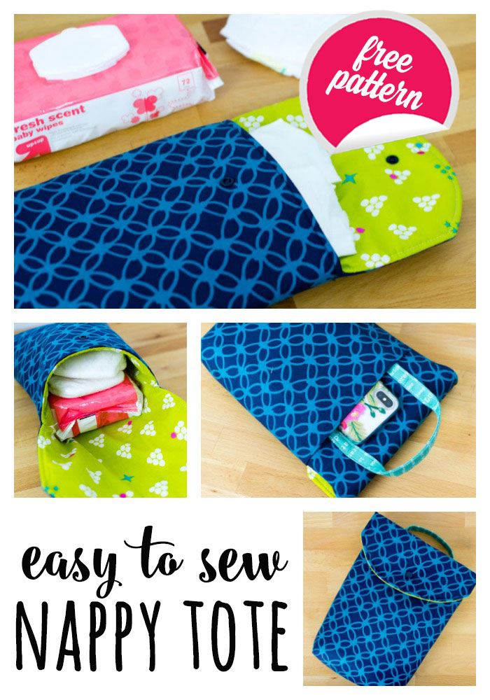 DIY Easy to Sew Nappy Tote (aka FQ friendly Diaper Clutch