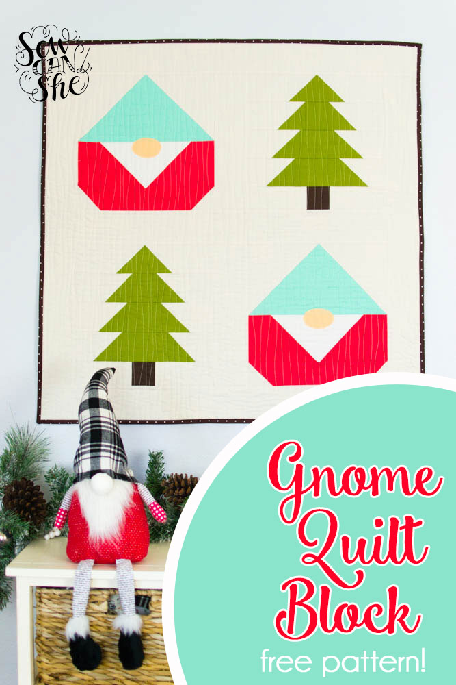 Free Gnome Quilt Block Pattern for making a cute quilt.