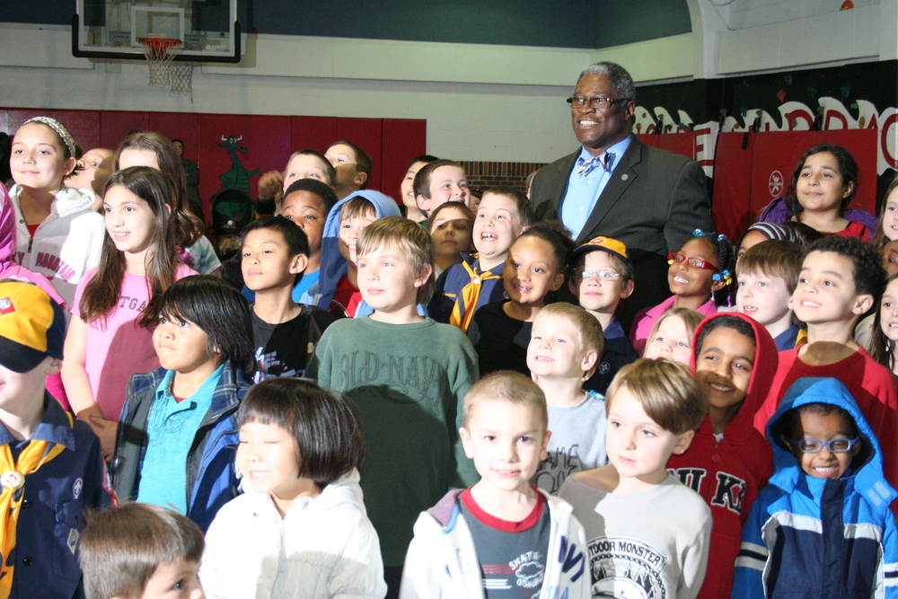 Chouteau students and Mayor James
