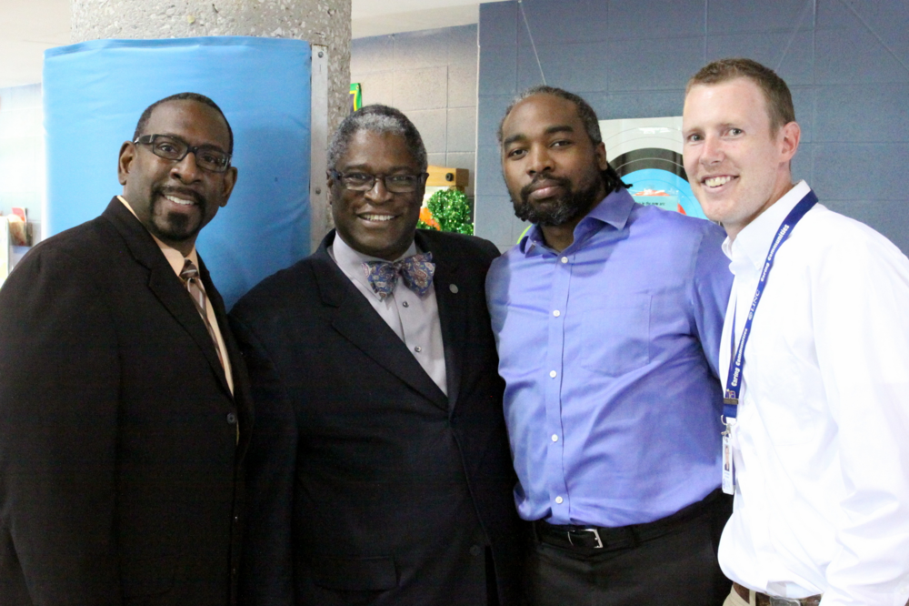 (L-R) KCPS Superintendent Dr. R. Stephen Green, KCMO Mayor Sly James, KCPS Board President Airick Leonard West, and LINC Site Supervisor Alex Petersen
