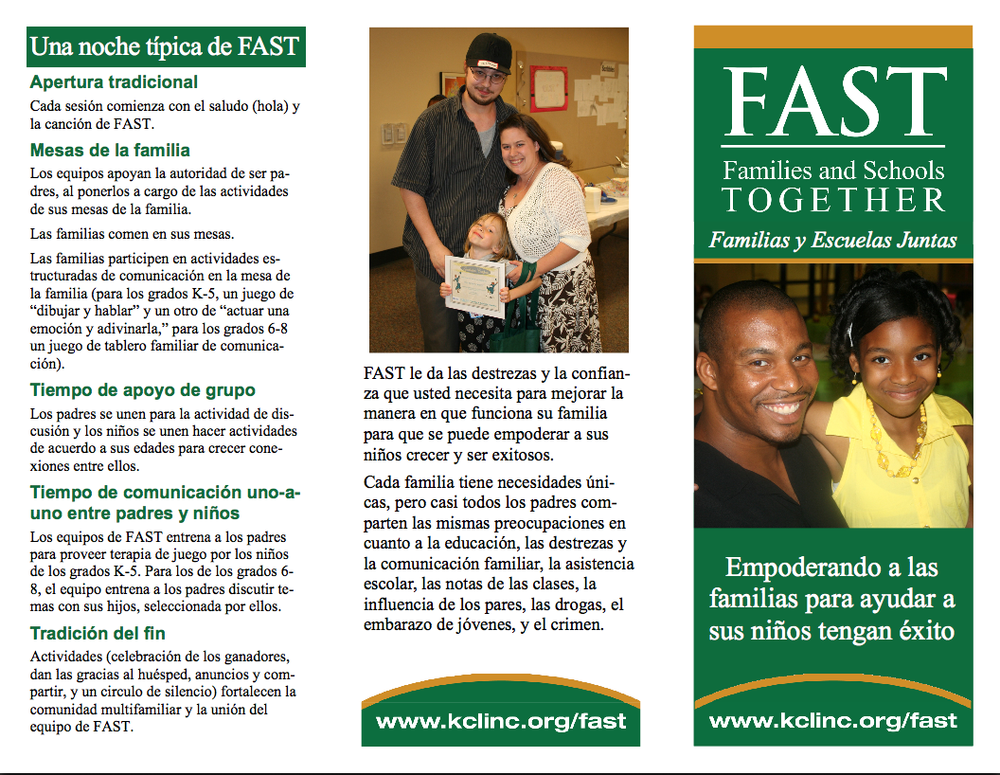 Editable Spanish F.A.S.T. tri-fold brochure. Explains F.A.S.T. and describes a typical evening with the program. Download