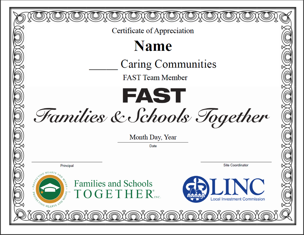 F.A.S.T. teacher appreciation certificate.    Use this Microsoft Publisher 2010 document to insert your information.      Download