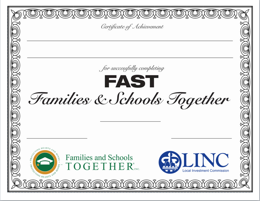 F.A.S.T. certificate with lines, F.A.S.T. logo, LINC logo Download