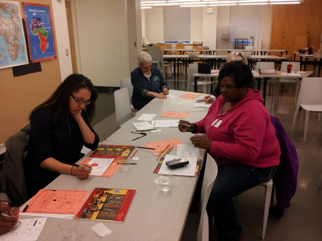 LINC site staff participate during Nelson-Atkins art workshop.