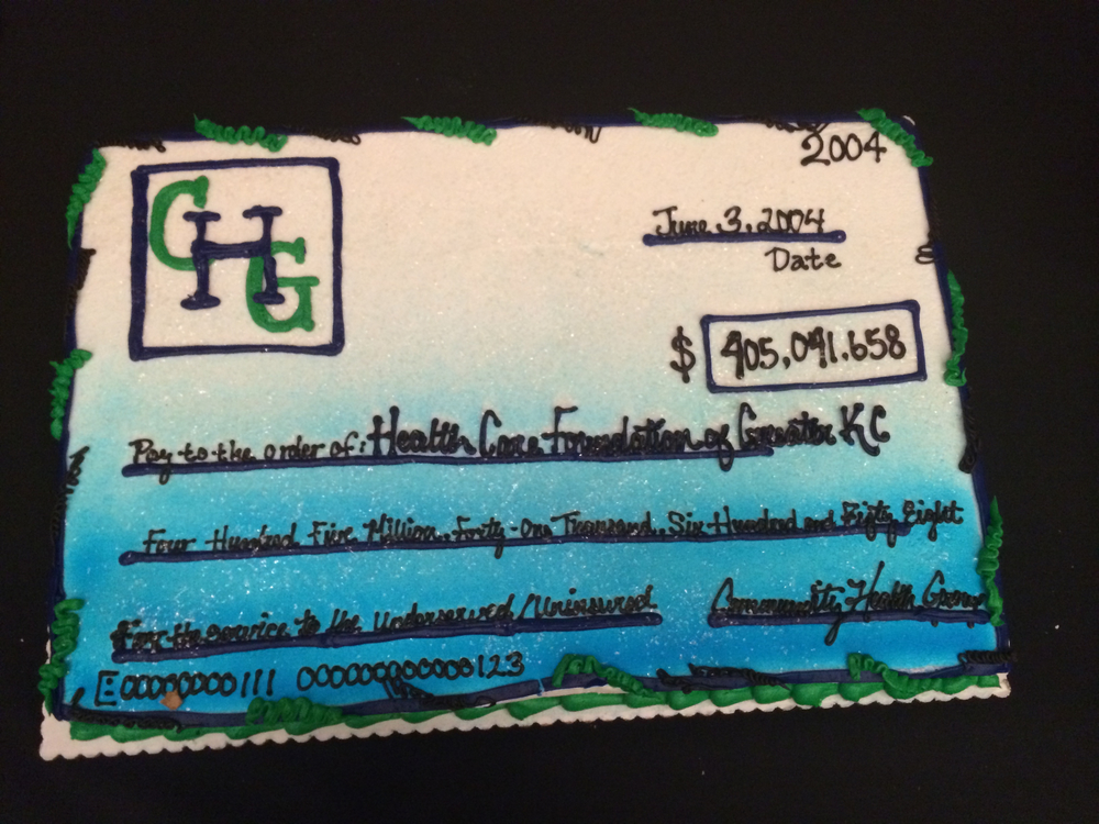 Cake served at a HCF event celebrating its first decade fashioned on the check amount first received in June 2004