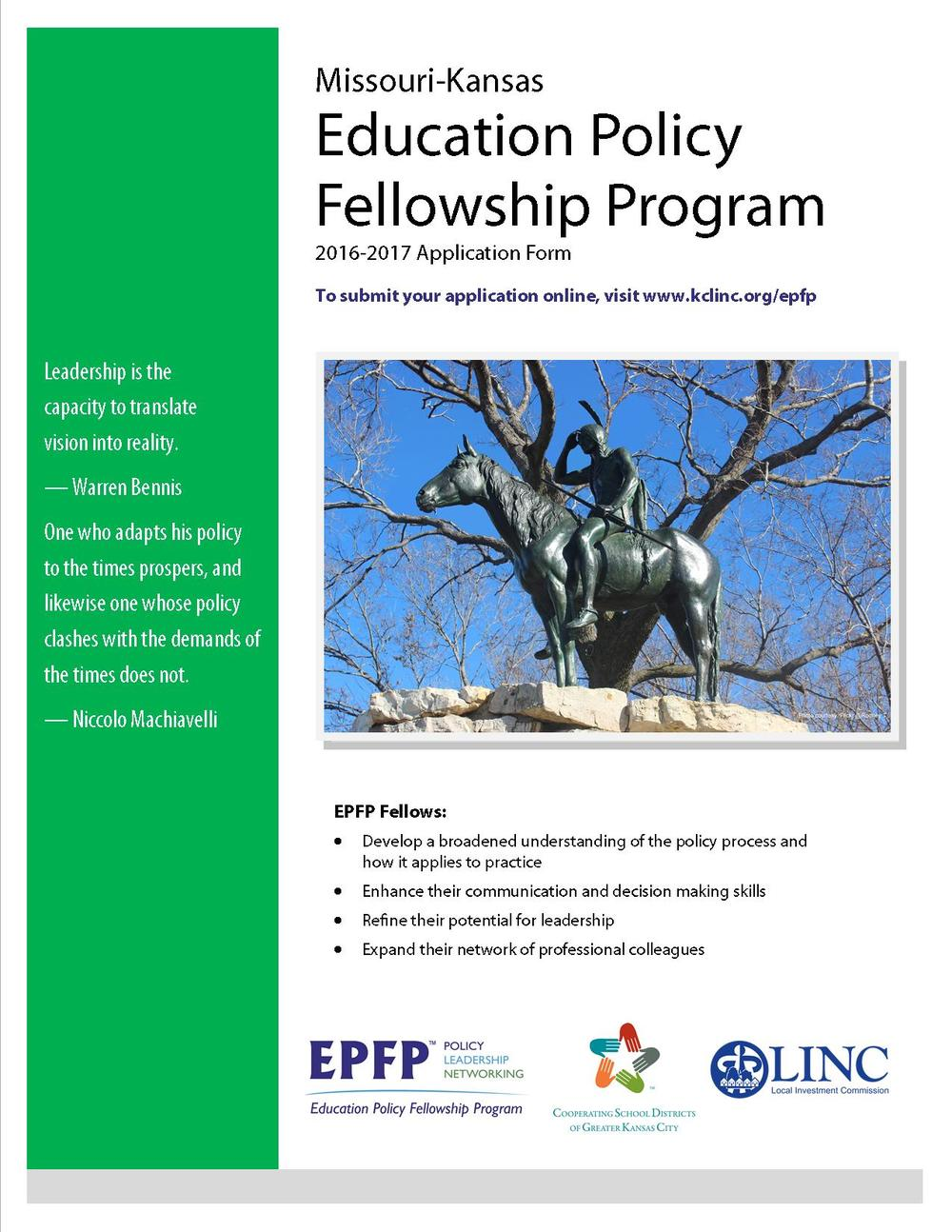 Click cover to download info and application on the 2016-2017 EPFP program.