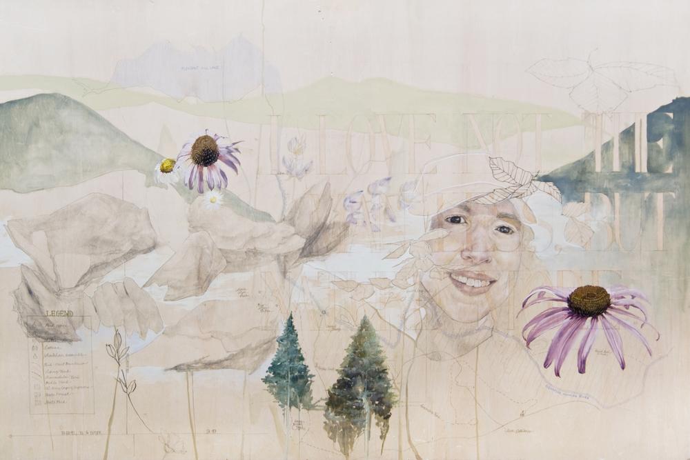 "Oil, Acrylic, Pencil, Colored Pencil, Micron  24""x36""  Raw Birch Panel"