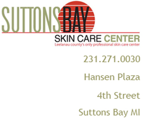 Image of Suttons Bay Skin Care Center logo, phone and address.