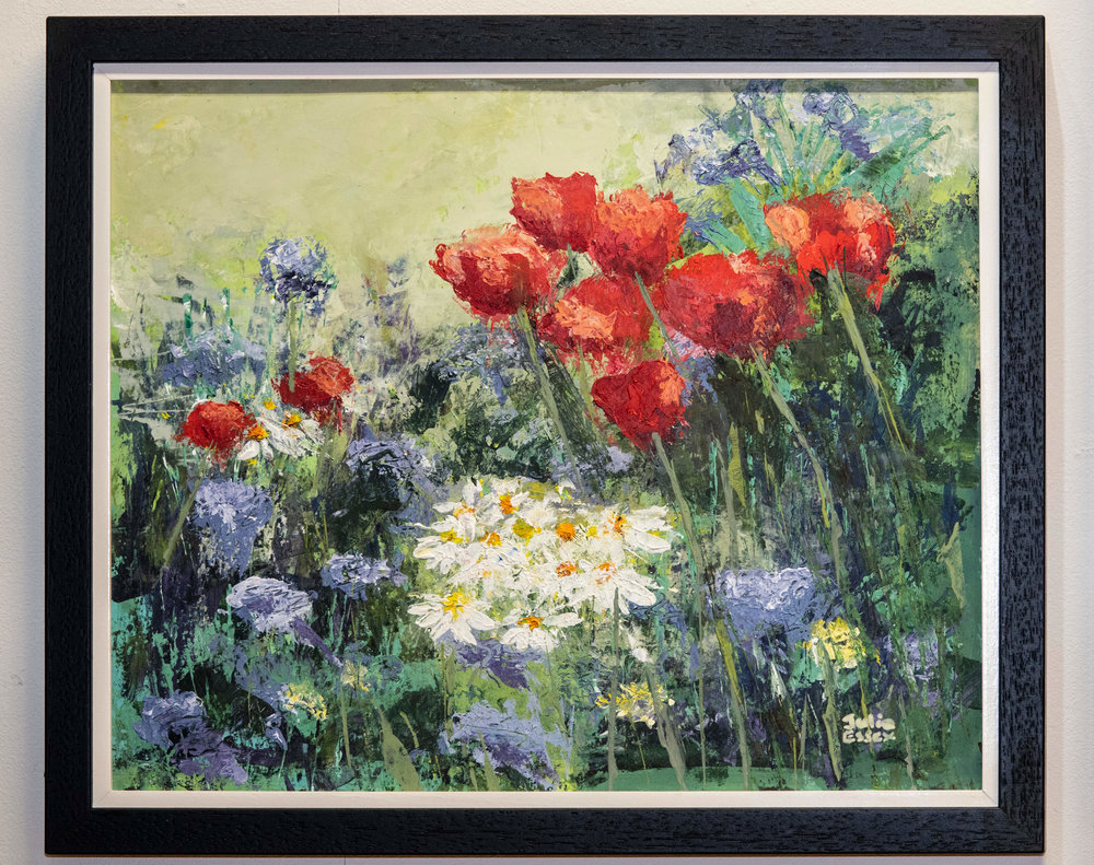 Artist Julia Essex's award-winning painting, 'Poppies'- currently on display in the gallery