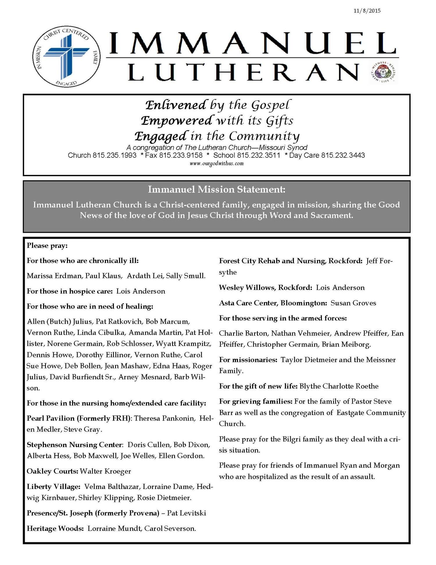 November 8, 2015 Bulletin — Immanuel Lutheran Church and School