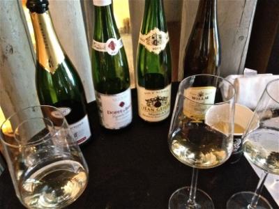 Alsatian wine in tulip-shaped bottles
