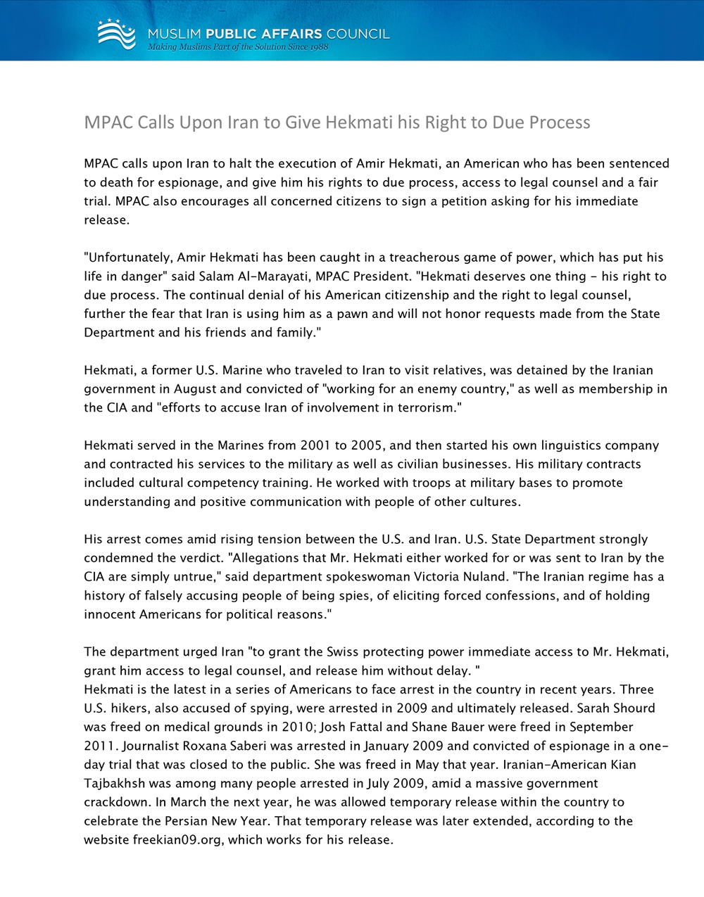 MPAC Calls Upon Iran to Give Hekmati his Right to Due Process.jpg