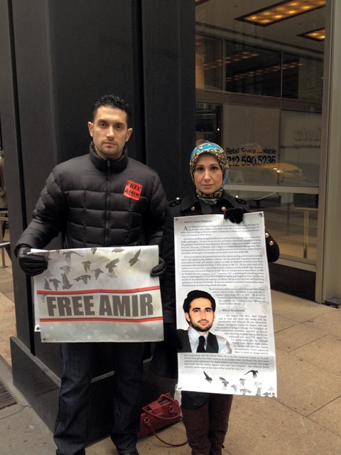 On January 9, 2013, Amir's family join in silent protest outside the Permanent Mission to Iran at the United Nations in New York City to mark his 500th day in prison and the anniversary of his original sentence.
