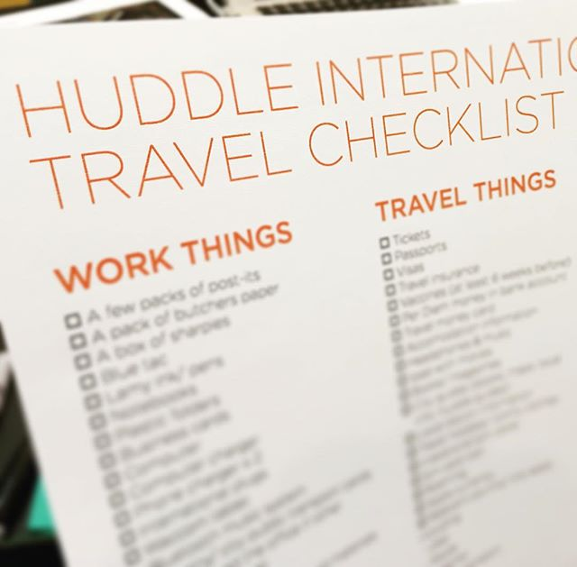 It's nice to know we need this now - Huddle International Travel Checklist