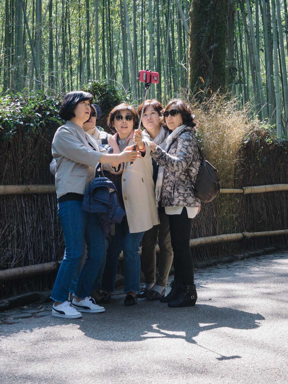 Five women, one selfie stick