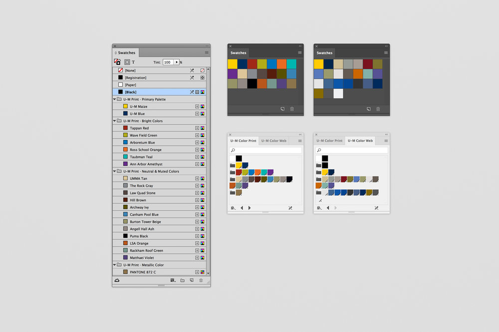 U-M color swatches loaded into Adobe InDesign, Photoshop, and Illustrator