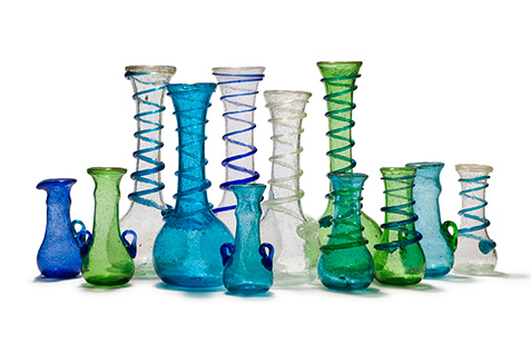 Egyptian vases made of recycled glass.