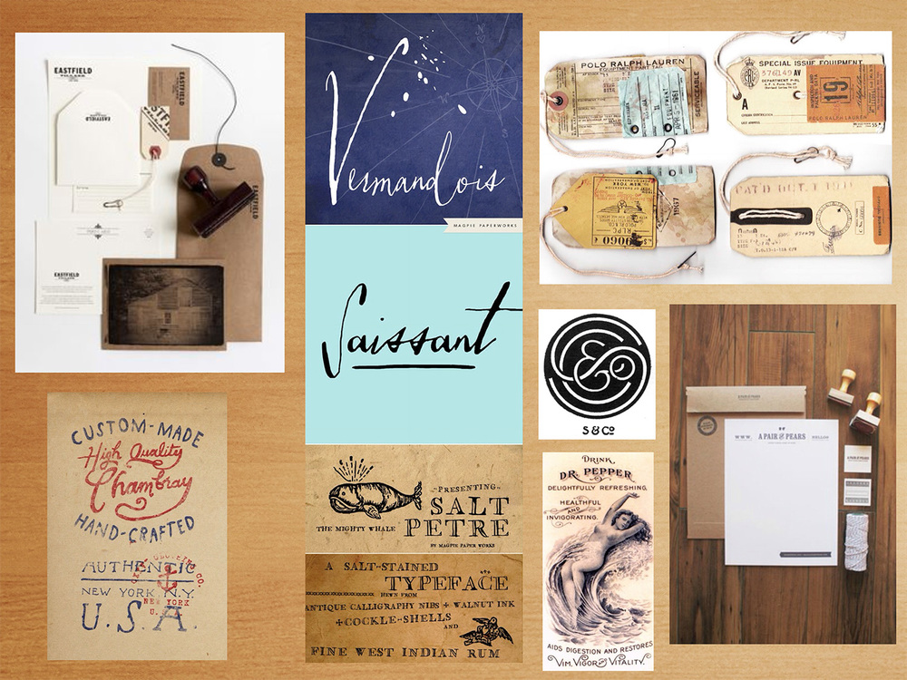Mood board. Inspired by vintage labels, hand lettering, handmade and diy.