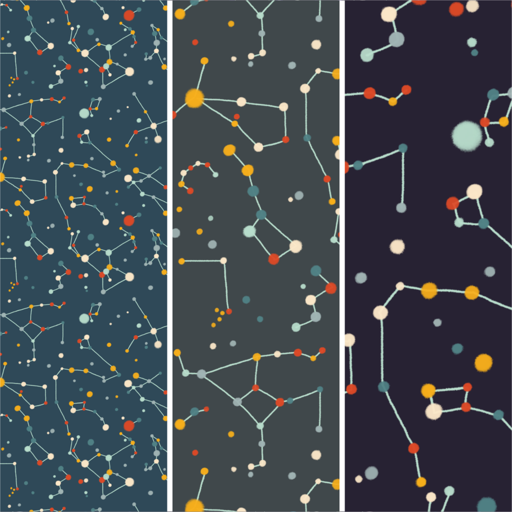Starry Sky Mid Modern. Pattern design.