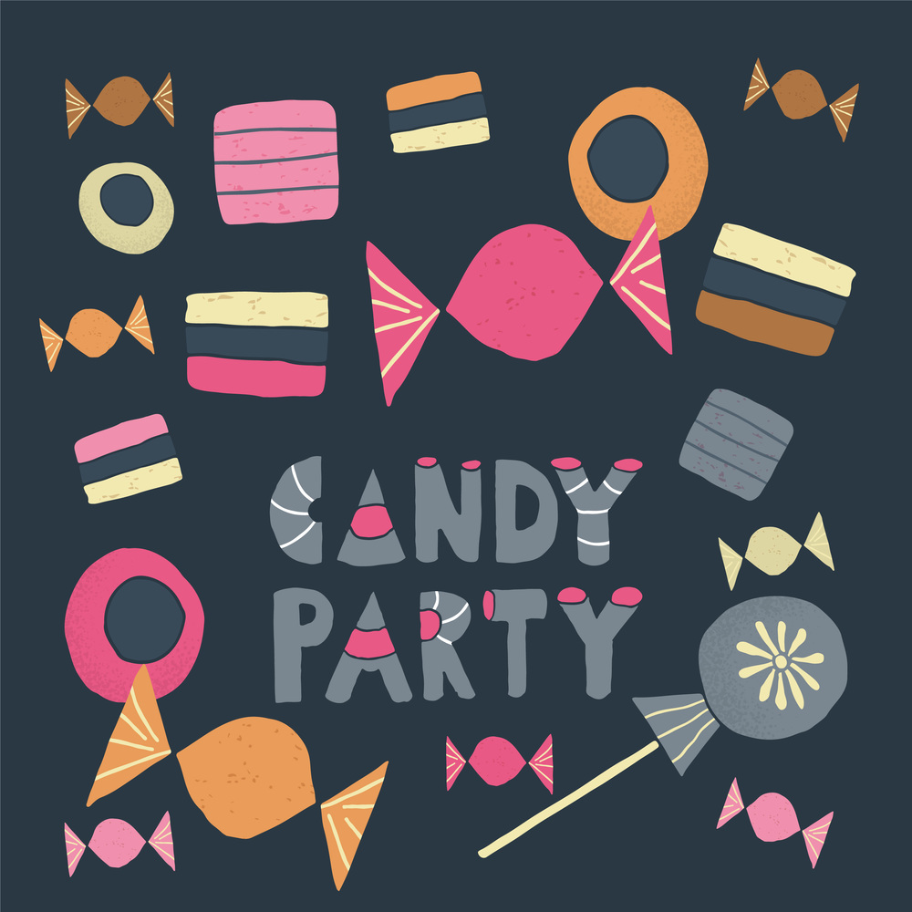 Illustrations available at Creative Market: Candy Party.