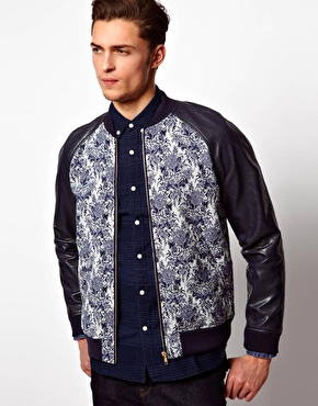 Asos Bomber Jacket  with faux leather sleeves