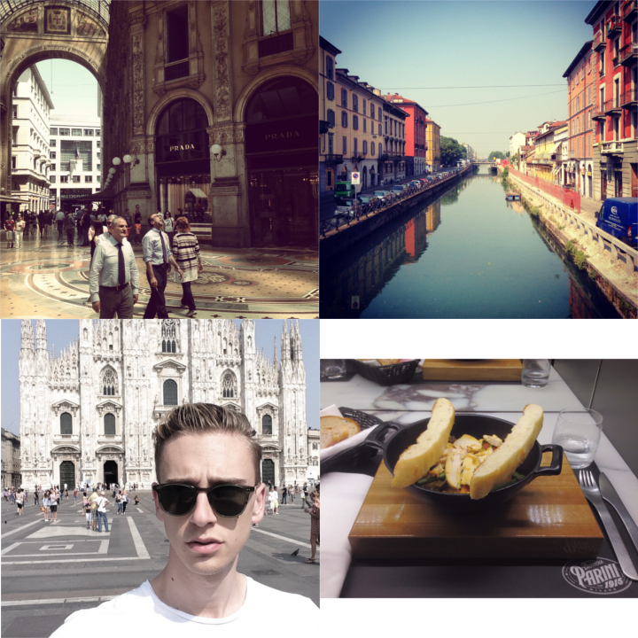 Clockwise: Navigli, Porta Genova, on my way to the  CoSTUME NATIONAL  casting  |  lunch at  Drogheria Parini 1915   |  in front of Duomo  |  inside Galleria Vittorio Emanuele II